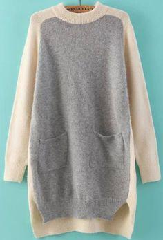 Grey Beige Long Sleeve Dipped Hem Sweater 31.67
