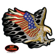 """Embroidered Iron On Patch - Attack Eagle USA Flag Wings 5"""" x 4"""" Biker Patch Good Sports http://www.amazon.com/dp/B00DK33AUG/ref=cm_sw_r_pi_dp_mzhZtb178QABJJWD"""