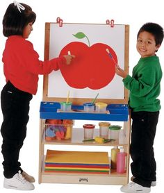 The Jonti-Craft 2 Station Childrens Easel provides ample storage space below and between easels. The frame is constructed of sturdy, solid. Classroom Furniture, Kids Furniture, Art Easel, Fun Arts And Crafts, Acrylic Panels, School Play, Preschool Classroom, Drawing For Kids, Early Learning