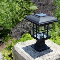 Great Bissonnette Light Lantern Head With . Outdoor Pillar Lights, Solar Led Lights, Solar Lanterns, Solar Lamp, Fence Lighting, Backyard Lighting, Outdoor Lighting, Gate Lights, Column Lights