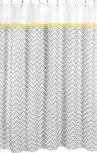 Amazon.com: Yellow and Gray Zig Zag Kids Bathroom Fabric Bath Shower Curtain by Sweet Jojo Designs: Home & Kitchen