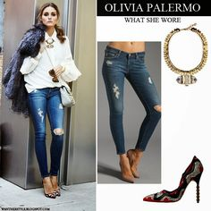 Olivia Palermo in white shirt, fur coat, blue distressed skinny jeans, with gold necklace and red, white and black pumps