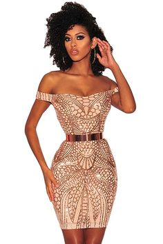Bodycon Dresses - Gold Sequined Nude Illusion Off Shoulder Dress - Women's Clothing Online Store - Cheap Women's Clothing 2019 - 2020 Pink Sequin, Sequin Dress, Gold Sequins, Club Dresses, Short Dresses, Dresses Dresses, Mini Dresses, Casual Dresses, Mini Dress Clubwear
