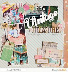 Scrapbook page created by designer Nancy Burke using Crate Paper products found in the Scraptastic Club Store Scrapbooking Layouts Vintage, Vintage Scrapbook, Scrapbook Pages, Scrapbook Layouts, Paper Art, Paper Crafts, Photographs And Memories, Crate Paper, Craft Markets