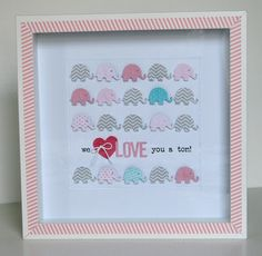 Baby Elephant Wall Decor Using Punches. Would make a great baby gift. Baby Girl Elephant, Little Elephant, Elephant Nursery, Elephant Theme, Elephant Gifts, Nursery Art, Girl Nursery, Simple Wall Art, Diy Wall Art