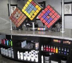Like the cubes set askew. Salon Color Bar, Salon Style, Beauty Salon Decor, Hair And Beauty Salon, Salon Interior Design, Salon Design, His And Hers Salon, Home Salon, Empire Beauty School
