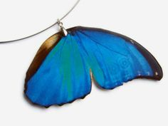 Blue Butterfly Necklace Insect Wing door SophieThomsonDesigns, £10.00