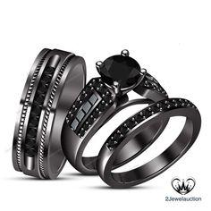 Round Diamond Trio Set Black Gold Finish Couples Engagement Ring Wedding Band…