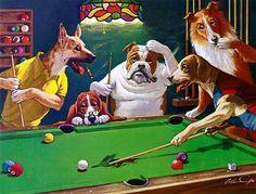 Dogs Playing Pool by Artist Arthur Sarnoff