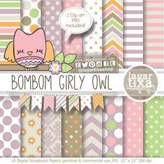 Digital Paper and Baby Shower Clip art girl cute Owl Banner Bunting Brown purple orange Beige Pink Chevron Argyle Polka dots #etsy #digitalpaper