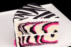 Pretty Pink and Black Zebra Cake