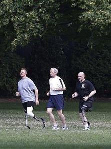 President Bush with disabled veterans