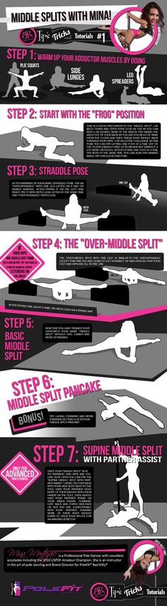"PoleFit® Tips and Tricks Series: Want to increase your strength and flexibility? We teamed up with the Bad Kitty® Brand Ambassadors to bring you a series of ""Tips and Tricks."" Tip #1: Middle Splits Flexibilty with Mina Mortezaie. #BadKitty"