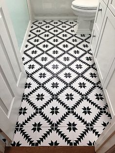 stenciled floor tiles