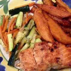 Dinner tonight: salmon with brown sugar marinade, cayenne yams and zucchini and carrots.