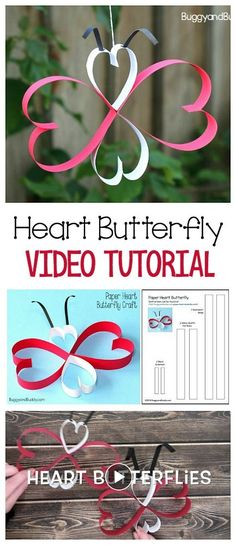 Learn how to make a cute butterfly using paper hearts in this video tutorial! Perfect for Valentine's Day or spring! A fun and easy craft for kids of all ages! ~ BuggyandBuddy.com
