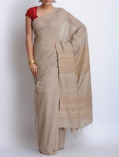 Buy Grey Cotton Handwoven Saree Sarees Woven Needle Art Kantha Embroidered Blouse pieces from Murshidabad Bengal Online at Jaypore.com