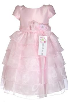 Pink Satin Bodice with Sleeve and Sheer Organza Tiered Skirt -
