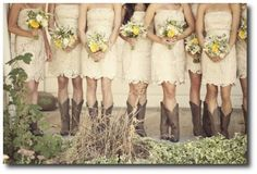 country bridesmaid dress with cowgirl boots. Rustic Wedding, Our Wedding, Dream Wedding, Wedding Stuff, Wedding Wraps, Chic Wedding, Lakeside Wedding, Wedding Season, Wedding Ring