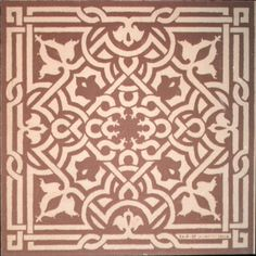 Sgraffito technique  (could also be stenciled IF one found a stencil with this pattern)