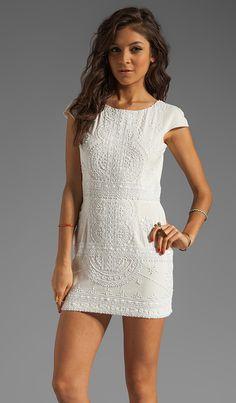 renzo + kai Lola-Lola Silk Cap Sleeve Dress in White & White | REVOLVE