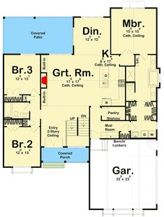 Plan One Story 3 Bed Modern Farmhouse Plan With Upstairs Loft Ranch House Plans, New House Plans, Small House Plans, House Floor Plans, Loft Plan, Modern Murphy Beds, Upstairs Loft, Murphy Bed Plans, Pole Barn Homes