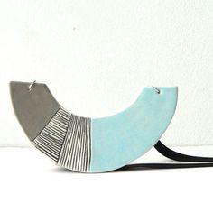 Ceramic necklace, geometric necklace, statement necklace, ceramic jewelry, light blue necklace, blue grey