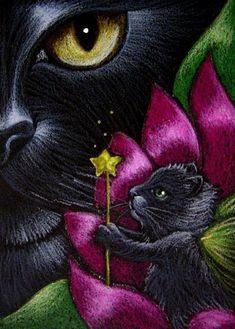 """Black Cat and Fairy Kitten"" par Cyra R. Cancel"
