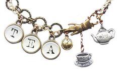 clock charm, teapot and teacup charms, brass Victorian-style hand, ...  jlhjewelry.com