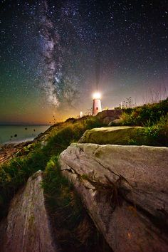 "♥ ""Milky Way over Pemaquid Point"" by Chris Lazzery, via 500px."