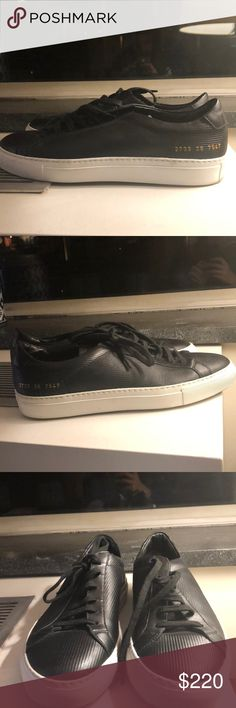 Common Projects Achilles Sneakers Black leather Common Projects Achilles Sneakers. Worn once only, mint condition. Foil-stamped with the factory-ID code and style numbers along the heel. Runs big. Common Projects Shoes Sneakers