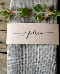 Custom Listing for Suzi--Kraft Wedding Napkin Place Cards Specifications: La Pomme et la Pipes signature design rustic, unique and super chic napkin wrap place card bands! Made from my trademark Wedding Places, Wedding Place Cards, Our Wedding, Dream Wedding, Rustic Place Cards, Wedding Name Tags, Wedding Venues, Wedding Calligraphy, Modern Calligraphy