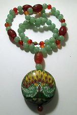 Vintage Chinese necklace Carved carnelian aventurine cloisonne silver filigree