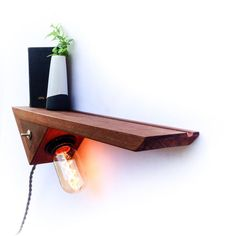 Buy Entryway / Bedside Catch-All, Floating Shelf, Edison Lamp by Fernweh Woodworking on Dot & Bo