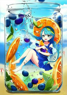 You never make Blueberry Orange Juice for your guests! (Juicia, The Juice Girl) Cute Anime Chibi, Anime Girl Cute, I Love Anime, Kawaii Anime Girl, Anime Art Girl, Manga Art, Kawaii Drawings, Cute Drawings, Anime People