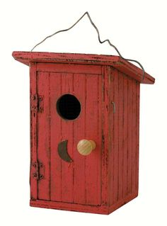 This humorous outhouse bird house will have a No Vacancy sign up all the time! You and your family will have plenty to talk about, watching your birds raise a family, flying in and out. Built in wire