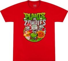 Shop a great selection of Plants Vs. Zombies Group Mens Red T-Shirt Zombie Birthday, Zombie Party, Thomas Birthday, Mens Tee Shirts, T Shirt, Street Fighter Shirt, Zombie Shirt, Plants Vs Zombies, Hugo Boss Man
