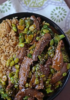 Beef, Broccoli & Edamame Stir Fry   Serve with Mahatma Brown Rice for a simple, quick, and delicious meal idea.
