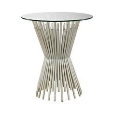 """Round End Table with Silver """"Wheat"""" Base   Clear Home Design Contemporary End Tables, Modern Side Table, Round Side Table, Gold Accent Table, Silver Side Table, Elegant Home Decor, Elegant Homes, Champagne Gold Color, Glass Top End Tables"""
