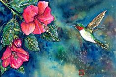 Love the colours and style of this painting. THe hibiscus flowers with a hummingbird, beautiful!