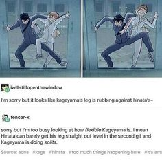 both are good Kagehina Kagehina, Kageyama X Hinata, Iwaoi, Bokuaka, Nishinoya, Kuroo, Haikyuu Funny, Haikyuu Ships, Haikyuu Fanart