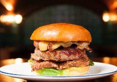 Hawksmoor Christmas burger: Buttermilk fired turkey, sausage patty, cheese, gravy dip