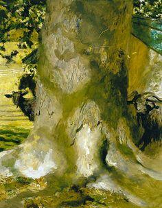 Goat Tree, Jamie Wyeth. American, born in 1946.  (Jamie Wyeth is a son of Andrew Wyeth and grandson of N.C. Wyeth )