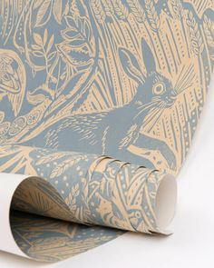 Jude's debut wallpaper design, Harvest Hare, created by painter and printmaker Mark Hearld as seen on design*sponge Rabbit Wallpaper, Wall Wallpaper, Wallpaper Ideas, Playroom Wallpaper, Country Living Magazine, Designer Wallpaper, Print Patterns, Harvest, Kids Room