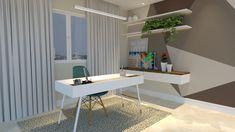 Home Office - detalhe para a parede com pintura geométrica! #autoral #JPinteriores #juliaparaluppi #homeoffice #escritório #paredepinturageométrica #pinturageométrica