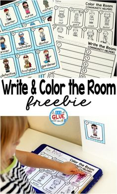 Community Helpers Write and Color the Room is the perfect addition to your community helper unit. This printable is great for preschool, kindergarten, and first grade students. Community Helpers Activities, Community Helpers Kindergarten, Kindergarten Social Studies, School Community, Kindergarten Literacy, Literacy Centers, Community Helpers Pictures, Community Helpers For Kids, Journeys Kindergarten
