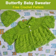 Butterfly Baby Sweater (Free Crochet Pattern)