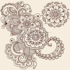 Hand drawn komplizierte Abstract Blumen und Mandala Mehndi Dehna Tattoo Paisley Doodle Illustration Lizenzfreie Bilder