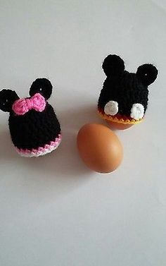 Set of 2 crochet egg cosy Breakfast Easter Egg cosies Minnie Mickey Mouse hat