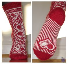 Heart Dream knit sock pattern by Hilde Aas Crochet Socks, Knit Socks, Knitting Socks, Knit Crochet, Boot Toppers, Fair Isle Knitting, How To Purl Knit, Boot Cuffs, Yarn Projects